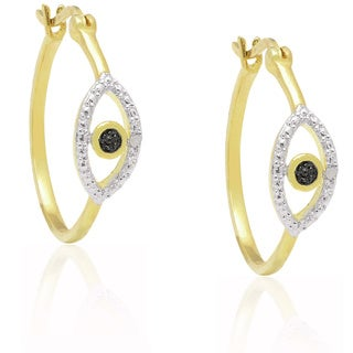 Finesque Gold Overlay Diamond Accent Evil Eye Hoop Earrings