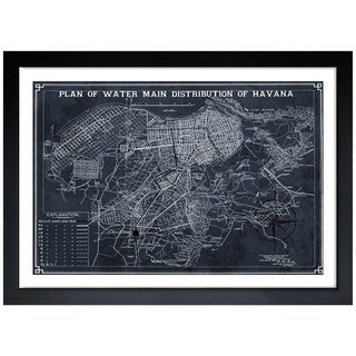 Oliver Gal 'Map of Havana Water Distribution 1899' Framed Art Print