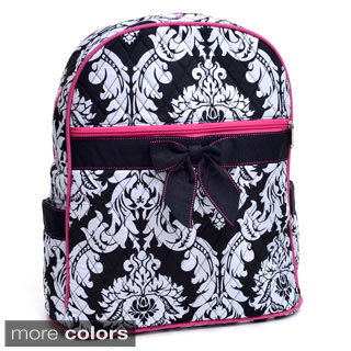 Rosen Blue Damask Printed Quilted Backpack Purse