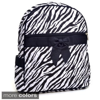 Rosen Blue Zebra Printed Quilted Backpack Purse