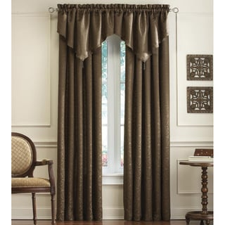 Mercato Damask Jacquard Curtain Panel Pair and Valance Set