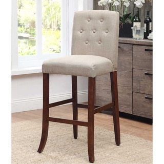 Parson Mid-tone Walnut Solid Wood Tufted Bar Stool