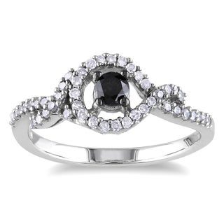 Miadora Sterling Silver 1/2ct TDW Black and White Diamond Ring (H-I, I2-I3)
