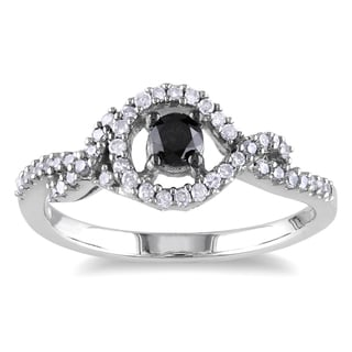 M by Miadora Sterling Silver 1/2ct TDW Black and White Diamond Ring (H-I, I2-I3)