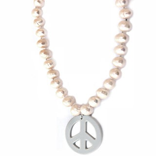 De Buman Freshwater White Pearl Necklace (9-10 mm)