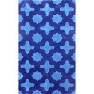 nuLOOM Hand-tufted Moroccan Trellis Blue Rug (7'6 x 9'6)