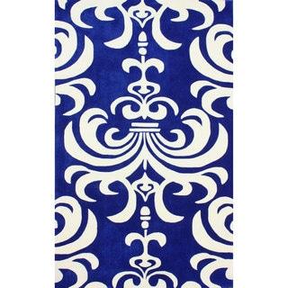 nuLOOM Hand-tufted Indoor/ Outdoor Damask Blue Rug (7'6 x 9'6)