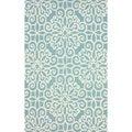 nuLOOM Handmade Cotton/ Wool Damask Lattice Blue Rug (7'6 x 9'6)