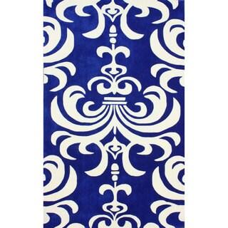 nuLOOM Hand-tufted Indoor/ Outdoor Damask Blue Rug (5' x 8')