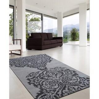 nuLOOM Hand-tufted Modern Damask Grey Wool Rug (7'6 x 9'6)
