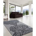 nuLOOM Hand-tufted Modern Damask Grey Wool Rug (7'6 x 9'6)