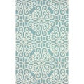 nuLOOM Handmade Cotton/ Wool Damask Lattice Blue Rug (5' x 8')