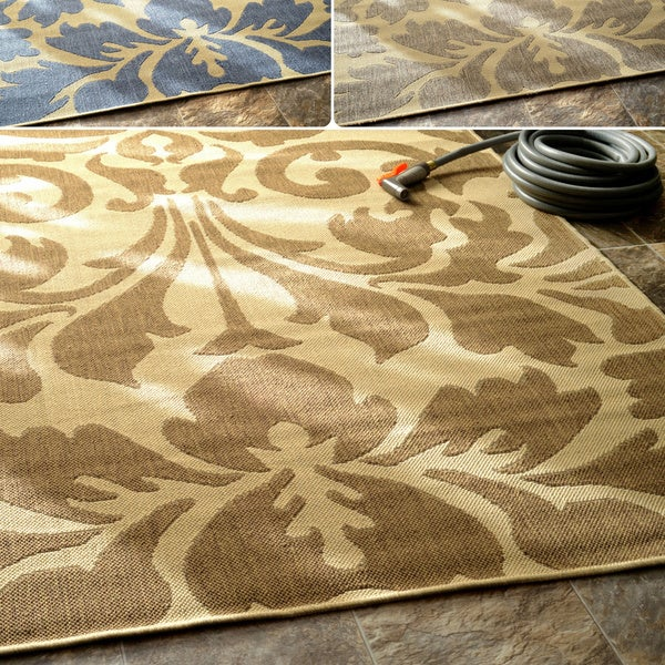 Damask Flatweave Rug: NuLOOM Transitional Indoor/ Outdoor Damask Grey Rug (5'3 X