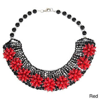 Vibrant Stone Chrysanthemum Floral Blast Crystal Necklace