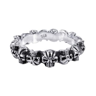 Fierce Mini Skulls Band Sterling Silver Ring (Thailand)