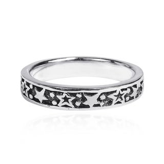 Planet and Stars Around Band Sterling Silver Ring (Thailand)