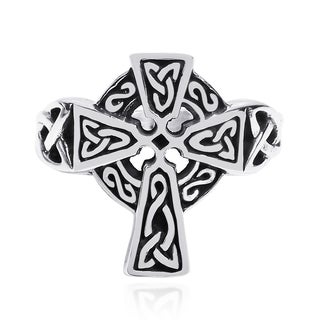Celtic Knot Embellished Cross .925 Sterling Silver Ring (Thailand)