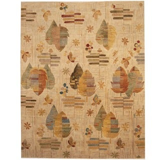 Afghan Hand-knotted Vegetable Dye Beige/ Rust Wool Rug (8' x 10')