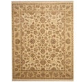 Indo Hand-knotted Vegetable Dye Ivory/ Beige Wool Rug (8' x 10')