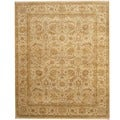Indo Hand-knotted Vegetable Dye Ivory/ Gold Wool Rug (8' x 10')