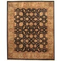 Indo Hand-knotted Vegetable Dye Black/ Olive Wool Rug (8' x 10')
