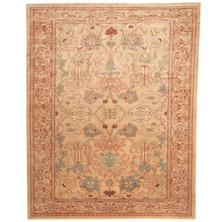 Herat Oriental Afghan Hand-knotted Vegetable Dye Beige/ Peach Wool Rug (8' x 10')
