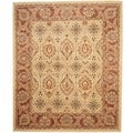 Afghan Hand-knotted Vegetable Dye Beige/ Rust Wool Rug (8'2 x 9'8)