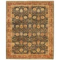 Indo Hand-knotted Vegetable Dye Navy/ Rust Wool Rug (8' x 10')