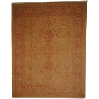 Afghan Hand-knotted Vegetable Dye Ivory/ Peach Wool Rug (8' x 10'4)