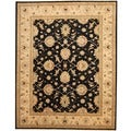 Afghan Hand-knotted Vegetable Dye Black/ Ivory Wool Rug (8'1 x 10'3)