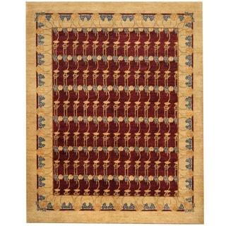 Afghan Hand-knotted Vegetable Dye Burgundy/ Beige Wool Rug (8' x 10')