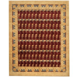 Afghan Hand-knotted Vegetable Dye Burgundy/ Beige Wool Rug (8' x 10')