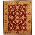 Afghan Hand-knotted Vegetable Dye Red/ Gold Wool Rug (8'1 x 9'6)