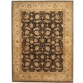 Indo Hand-knotted Vegetable Dye Black/ Ivory Wool Rug (7'9 x 10'1)