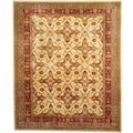 Afghan Hand-knotted Vegetable Dye Ivory/ Red Wool Rug (8' x 10')