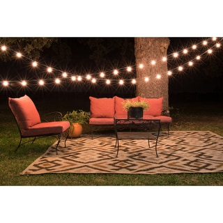 Biscayne Beige/ Brown Indoor Outdoor Rug (7'10 x 10'9)