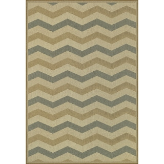 Biscayne Beige/ Blue Indoor Outdoor Rug (7'10 x 10'9)