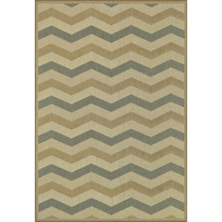 Biscayne Beige/ Blue Indoor Outdoor Rug (3'11 x 5'10)
