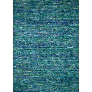 Handmade Estelle Blue Wool/ Silk Rug (5'0 x 7'6)