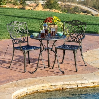 Christopher Knight Home Edgewater 3-piece Cast Aluminum Outdoor Bistro Set