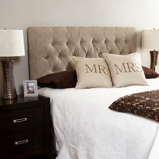 Humble + Haute Hampton Beige Full Diamond Tufted Upholstered Headboard