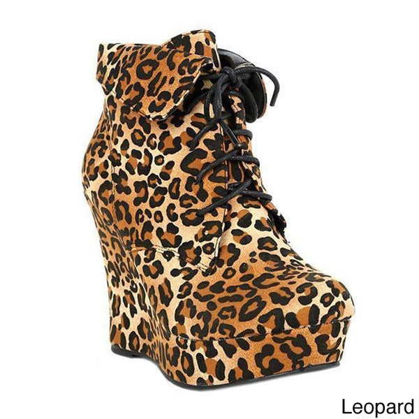 Top Moda IN-39 Women's Cuffed High Platform Wedge Booties