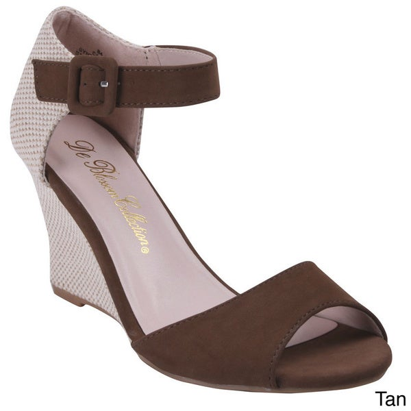 Blossom Women's Canny-8 Peep Toe Sandal Wedge with Buckle Ankle Strap
