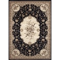 Traditional Savonnerie Black Area Rug (4' x 5'3)