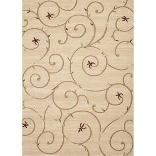 Transitional Savonnerie Scroll Red Area Rug (4' x 5'3)