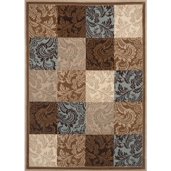 Damask Boxes Blue/ Brown Area Rug (4' x 5'3)
