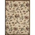 Medium Petals and Leaves Beige Area Rug (4' x 5'3)