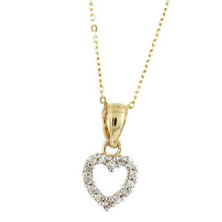 14k Yellow Gold White Cubic Zirconia Tiny Sweet Heart Charm Necklace