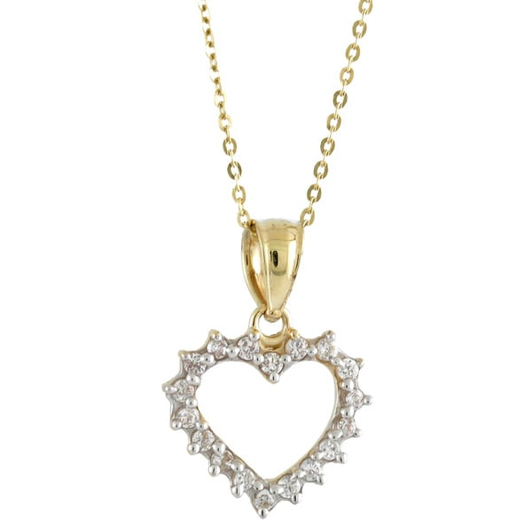 14k Yellow Gold White Cubic Zirconia Sweet Heart Charm Necklace