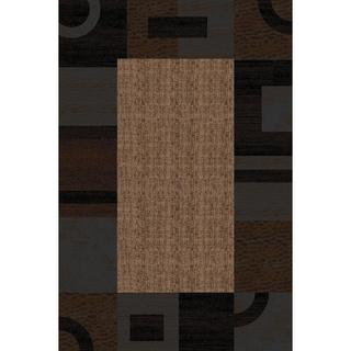 Hand-carved Geometric Border Beige/ Multi Area Rug (5'3 x 7'3)